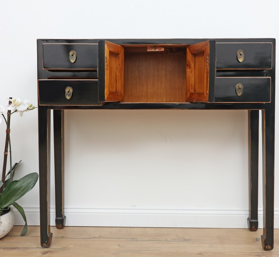 China sideboard black with natural wood edges glossy lacquered