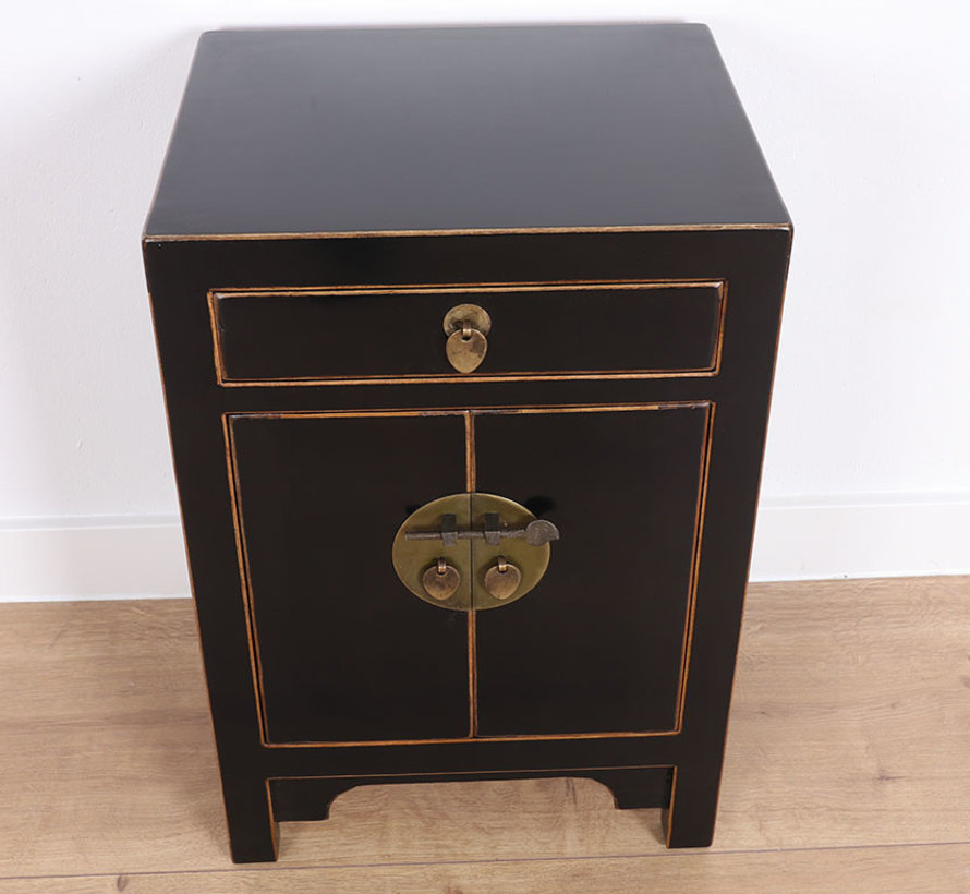 Chinese chest of drawers China nightstand black with natural wood edges