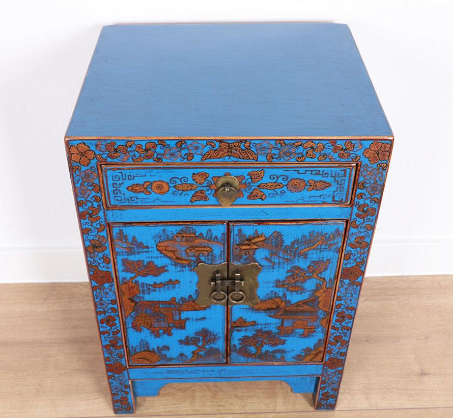 Nachttisch handgemalte Landschaftsglückssymbole blau