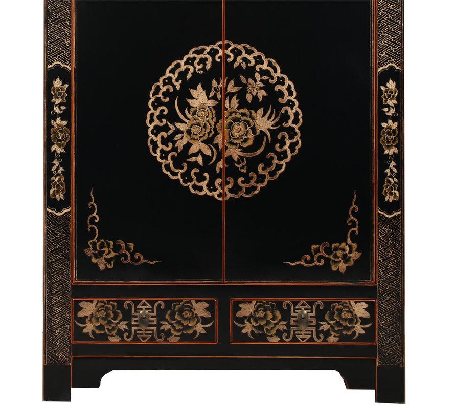Hochzeitsschrank Handbemalung Yinyang Glückssymbol schwarz
