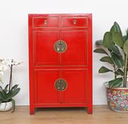 Yajutang chinesisches Kommode Schrank 4 Türen rot