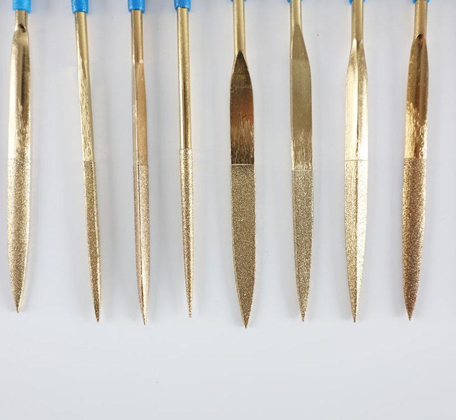 Diamant Nadelfeilen Feilen Satz 10-Teilig 160mm lang K-150 Korn Mittel