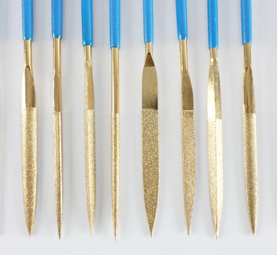 Diamond Needle File Set 10-Pcs. 180mm Long K-100 Grid Rough