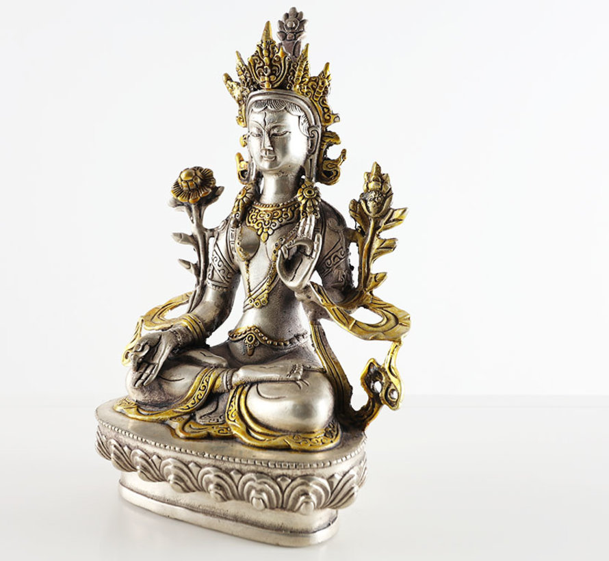 the white Tara of peaceful Bodhisattva of Tibetan Buddhism
