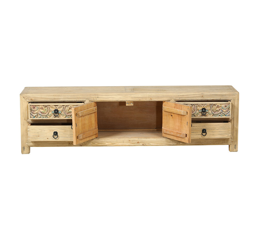 Antique sideboard from China 2 doors 4 drawers natural wood