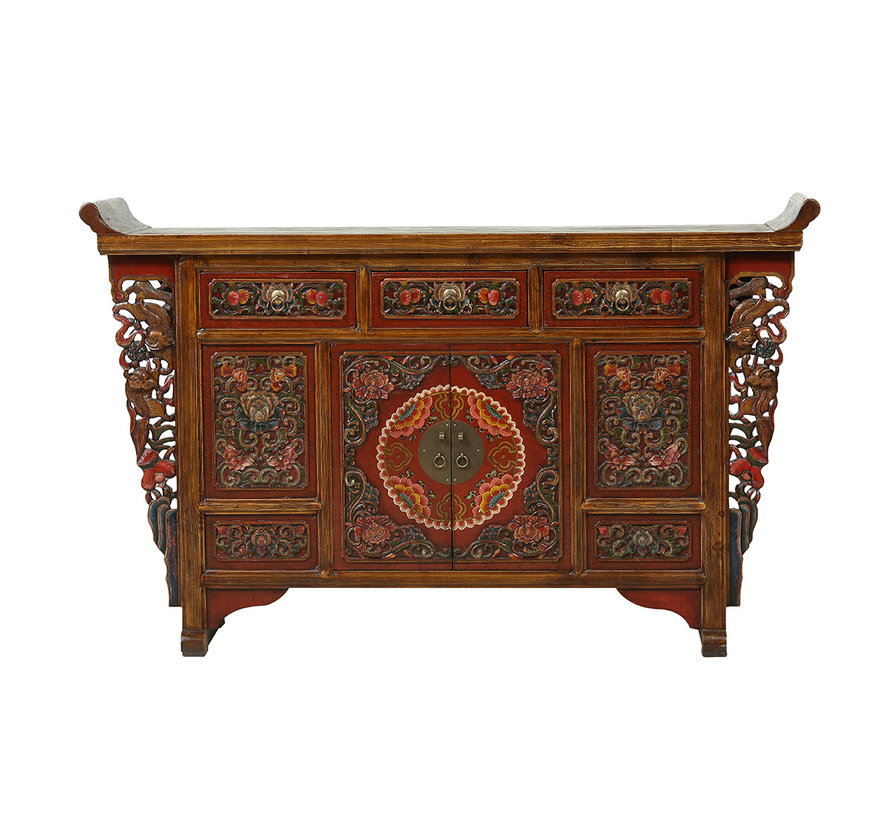 Antique sideboard from China with multicolored carvings