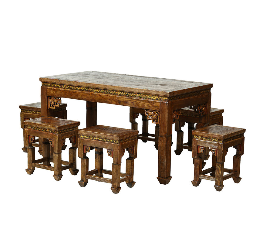 Chinese table and chairs set solid wood from China