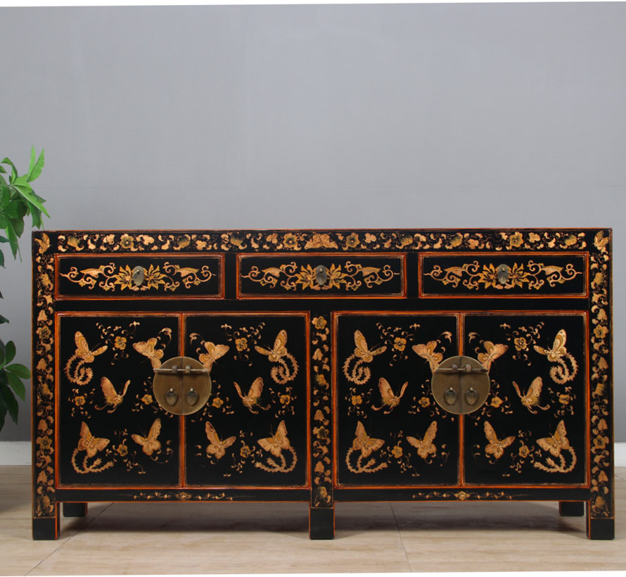 Sideboard with hand painted butterfly black