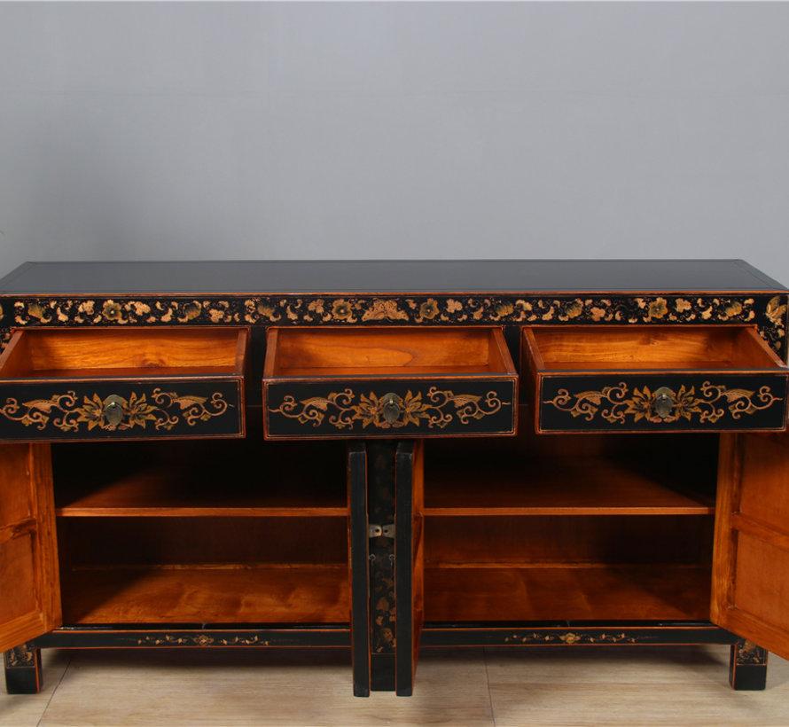 Sideboard mit Handbemalung Schmetterling schwarz