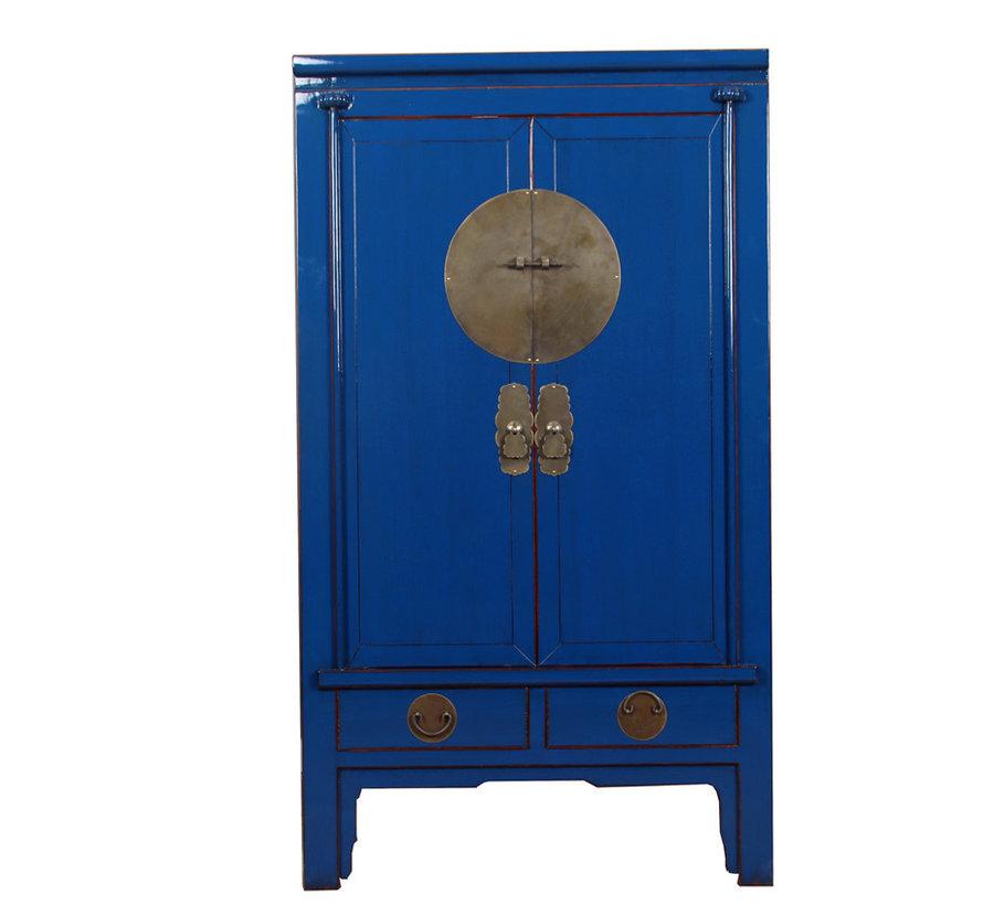 Chinesischer Hochzeitsschrank 2 Türen 2 Schubladen blau