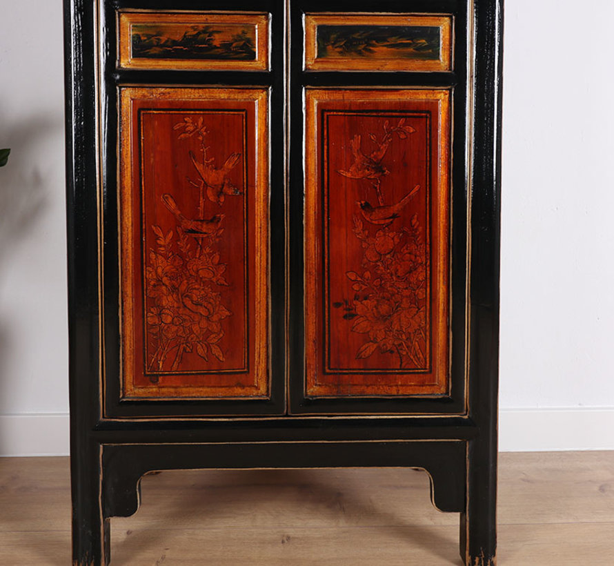 Chinese wedding cabinet 2 doors painted