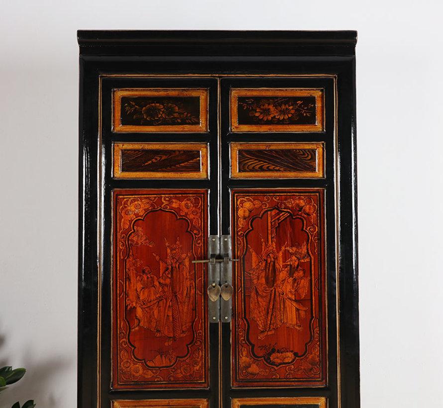 Chinesischer Hochzeitschrank 2 Türen bemalt