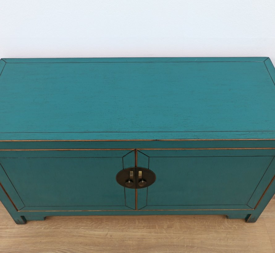 Chinese dresser sideboard 2 doors turquoise