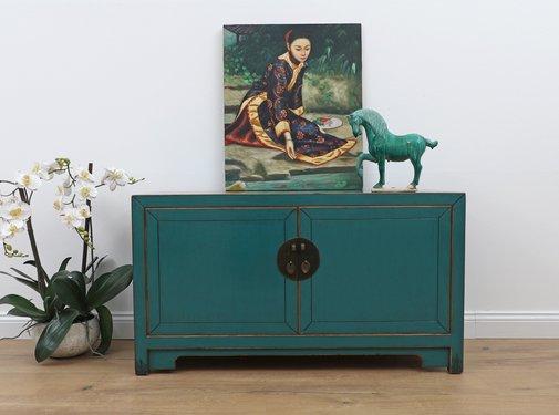 Yajutang Chinese sideboard 2 doors turquoise