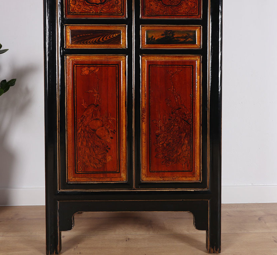 Chinese wedding cabinet 2 doors 1 drawer painted