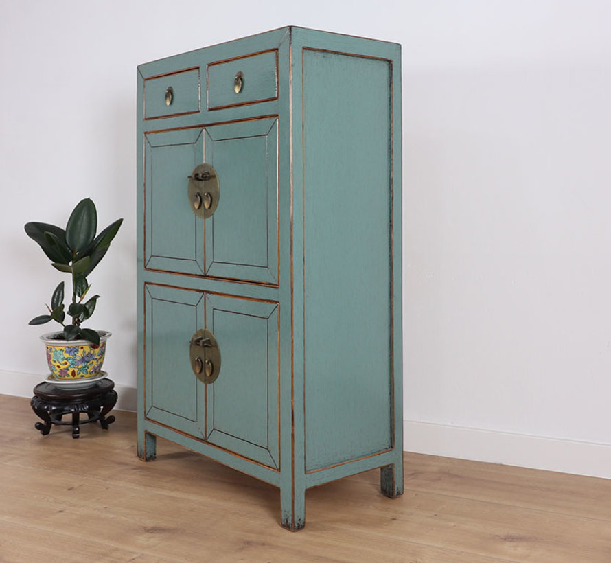Chinese dresser wedding cabinet cabinet solid wood gray