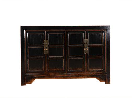 Yajutang Antikes Sideboard 4 Türen schwarz