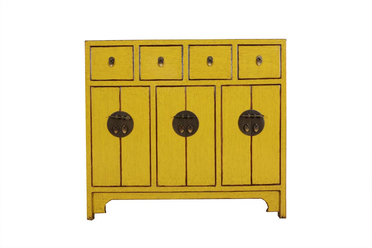Antike Kommode 6 Türen 4 Schubladen gelb | Yajutang