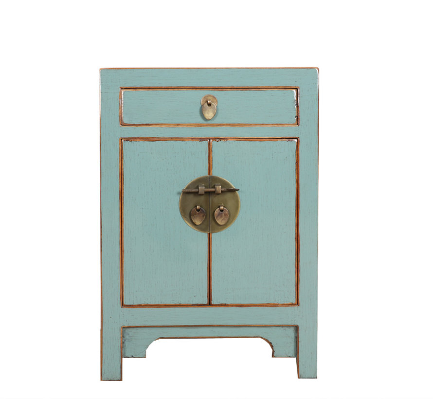 Chinese chest of drawers  bedside cabinet solid wood gray