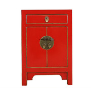 Yajutang red bedside table & natural wood edges