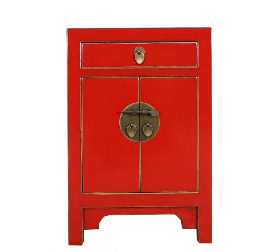 Chinese cabinet Chinese bedside cabinet solid wood China red
