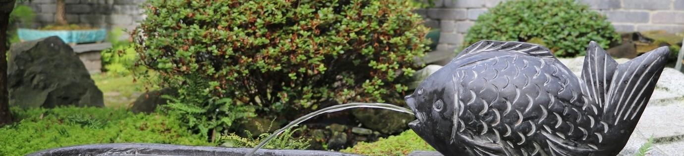 Fischbrunnen aus massivem Naturstein (kein Steinguss!)