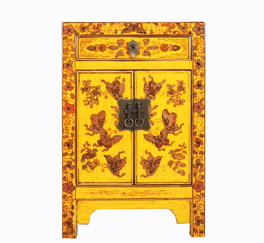 Nachtschrank Handbemalung Schmetterling Florale Glückssymbole gelb