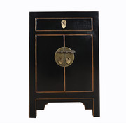 Yajutang black bedside cabinet natural wood edge