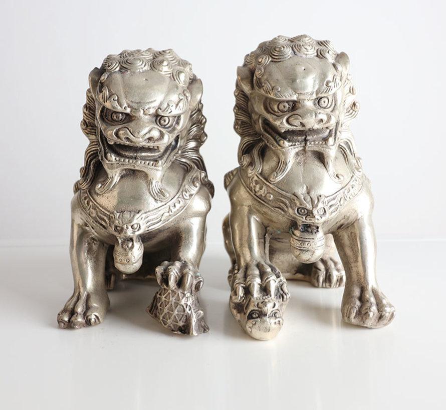 Paar Fu Hunde Wächterlöwen Tempellöwen Messingfigur Statue