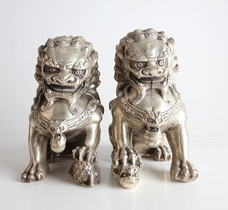 Pair of Fu Dogs Guardian Lions Temple Lion Brass Figure Statue