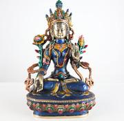 Yajutang Weiße Tara Buddha Göttin Messingfigur