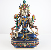 Yajutang White Tara Buddha goddess brass figure
