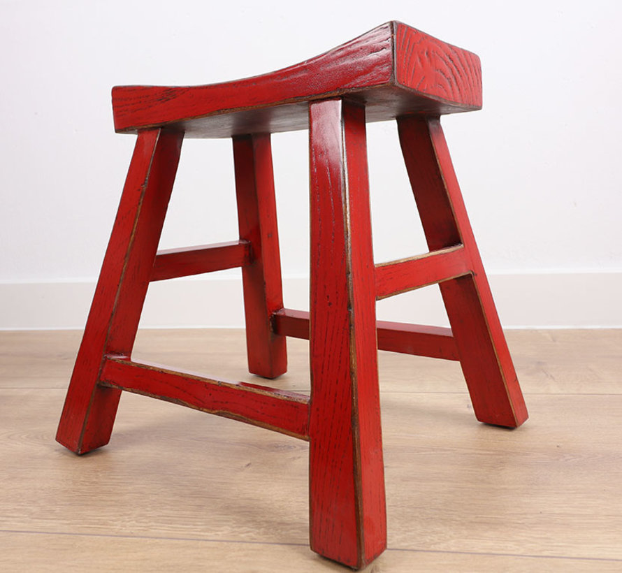 Wooden stool solid wood red