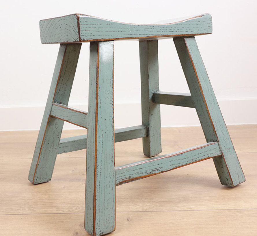Wooden stool solid wood gray