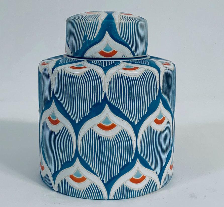 Chinese porcelain lidded vase 32 cm high Ø 20cm