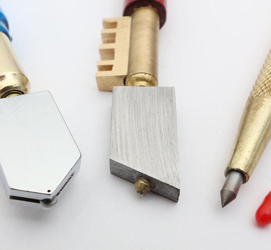 3er Set:  Diamant Glasschneider, Hartmetall Glasschneider und Hartmetall Anreißnadel
