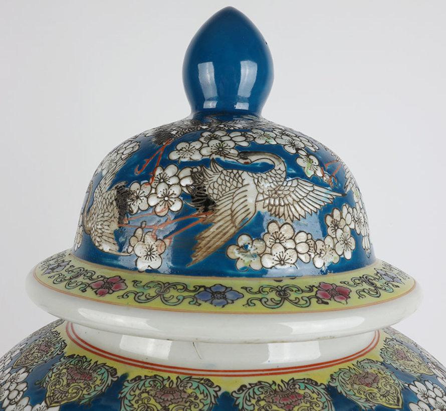 Chinese porcelain lidded vase 60 cm high Ø 33cm crane