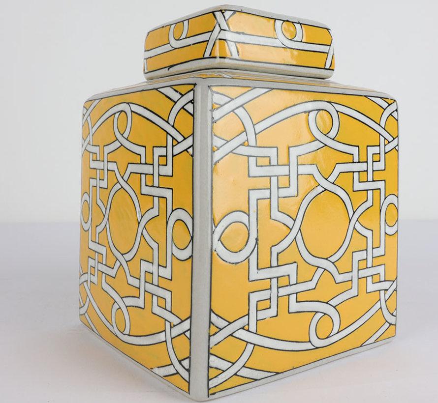 Chinesische Porzellan Square Deckelvase
