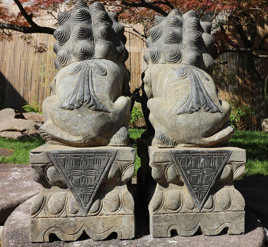 Paar Fu Hunde Wächterlöwen Tempellöwen Steinfigur 60cm H