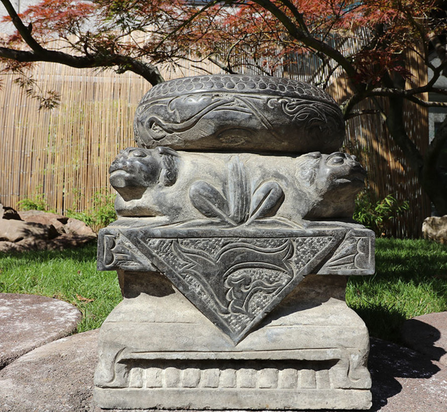 chinese front door gate pier with guardian lion made of natural stone