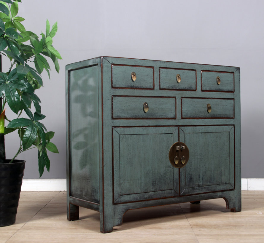 Chinese chest of drawers sideboard 2 doors 5 drawers gray