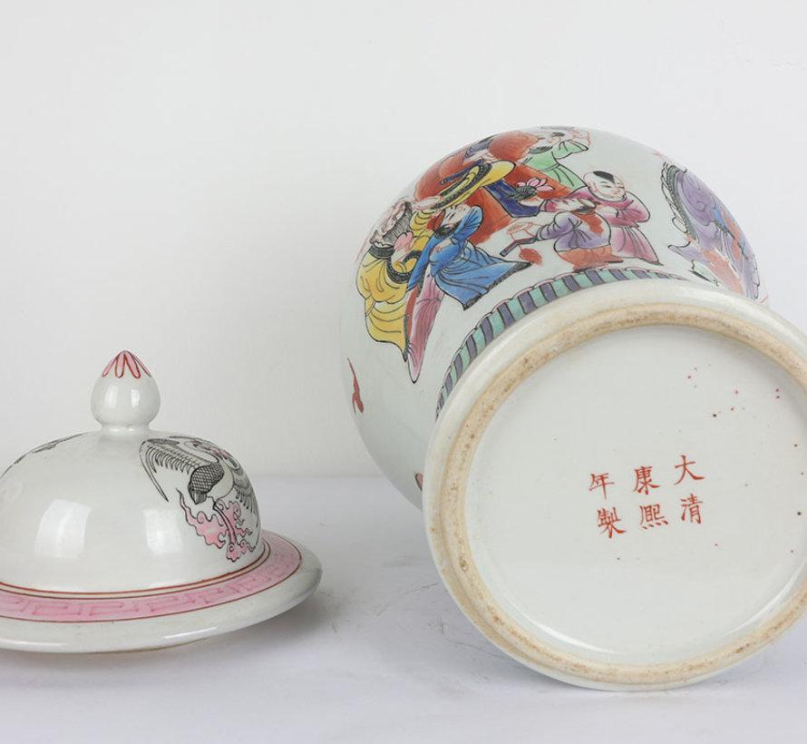 Chinesische Porzellan Deckelvase  40 cm hoch Ø 25cm handgemalt