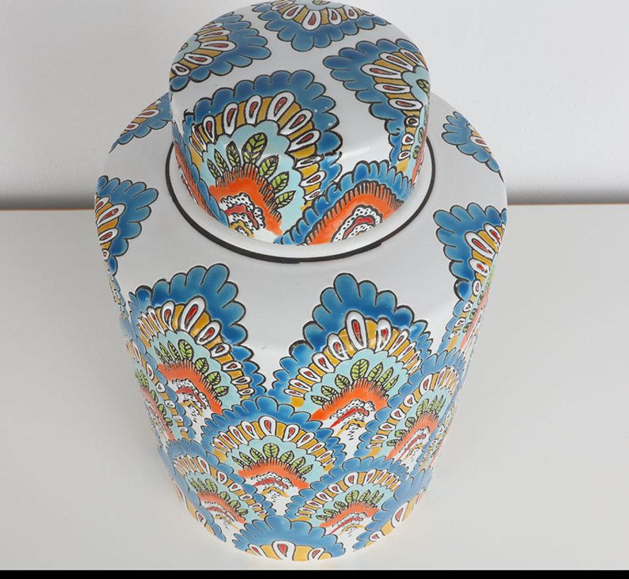 Chinesische Porzellan Deckelvase  32cm hoch Ø 19