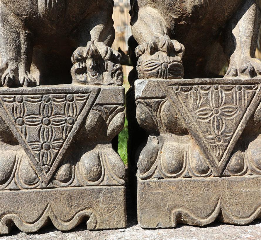 Paar Fu Hunde Wächterlöwen Tempellöwen Steinfigur 50cm H