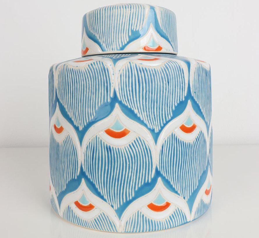 Chinese porcelain lidded vase 22 cm high Ø 18cm