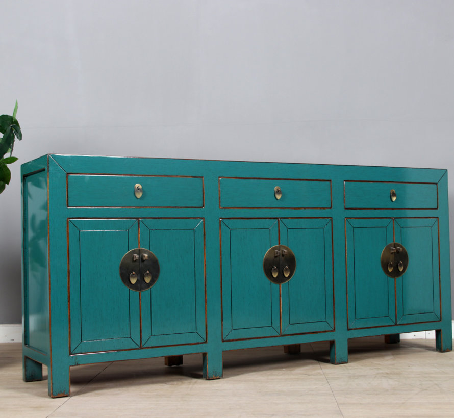 Chinese dresser sideboard 6 doors 3 drawers turquoise