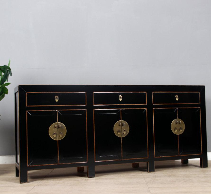 chinesische Kommode Sideboard 6 Türen 3 Schubladen schwarz