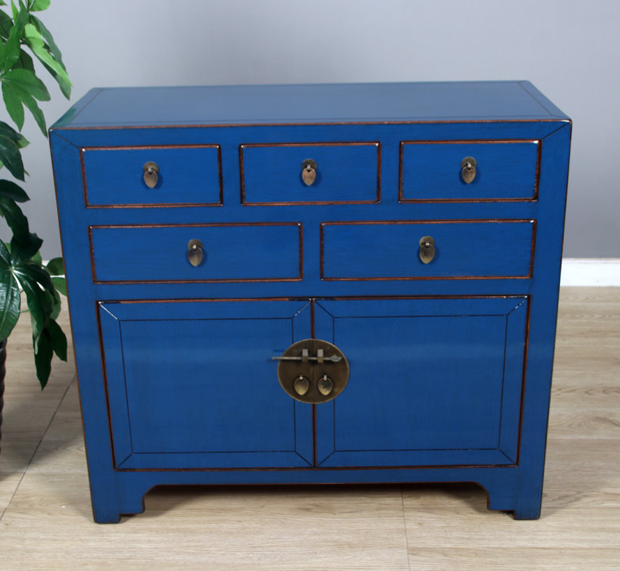 chinesische Kommode Sideboard 2 Türen 5 Schubladen blau