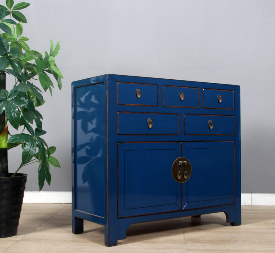 Chinese chest of drawers sideboard 2 doors 5 drawers blue