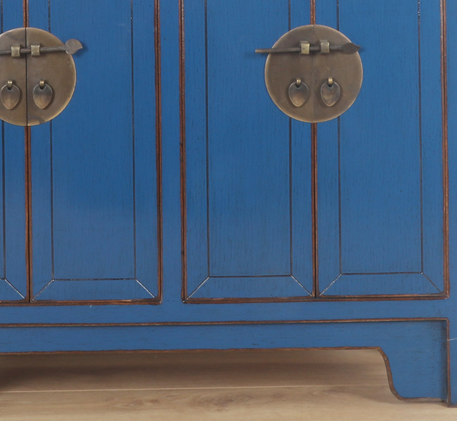 Chinese dresser sideboard 3 drawer 4 doors blue